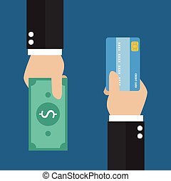 Businessman hand with credit card and cash back for you