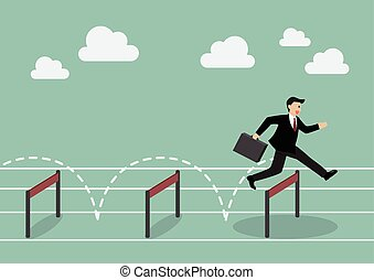Businessman jumping over hurdle Business concept