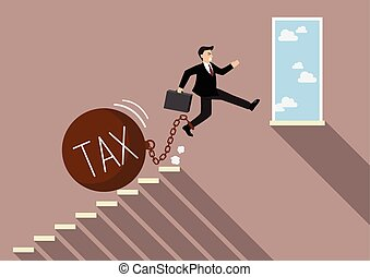 Businessman jumping to success with heavy tax Business...