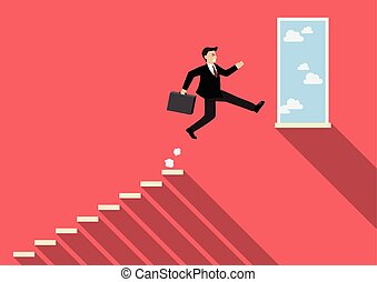 Businessman jumping to success