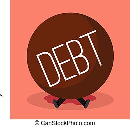 Businessman under heavy debt. Business concept