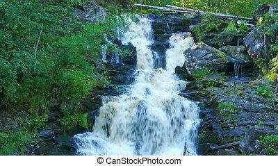 Yukankoski waterfall on river Kulismayoki, Karelia
