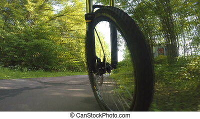 bicycle wheel in motion low view
