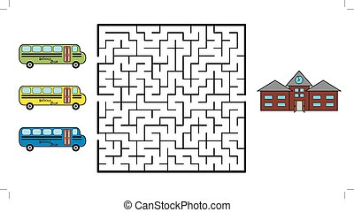 Maze game for children. Find the way for school bus to your...