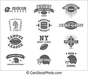 College rugby and american football team badges, logos, labels, insignias in retro style. Graphic vintage design for league tournaments, t-shirt, websites. Sports print on a white background. Vector