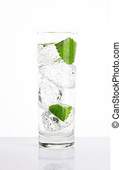 fresh water with mint and ice - glass of fresh water with...