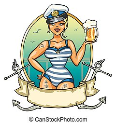 Pin Up Sailor Girl with cold beer - Label with Pin Up Sailor...