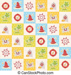 Card pirate design lighthouse compass crab palm treasure ship anchor. Cute party invitation colorful background seamless pattern. Vector