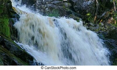 Yukankoski waterfall on river Kulismayoki, Karelia -...