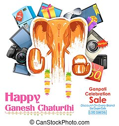 Happy Ganesh Chaturthi sale offer - illustration of Happy...