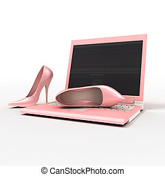 Notebook and stiletto - Set for blonde Pink laptop and...