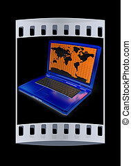 Gold laptop with world map on screen. The film strip