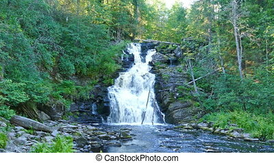 Yukankoski waterfall on river Kulismayoki, Karelia -...