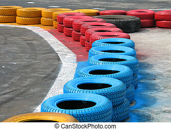 Racetrack fence of old tires
