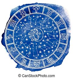 Zodiac sign in Horoscope circle.Blue watercolor stein -...