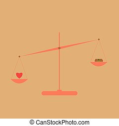 Money and heart on scales - concept of balance between money...