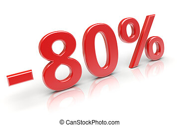 80 discount - 80 percent sale discount 3d image