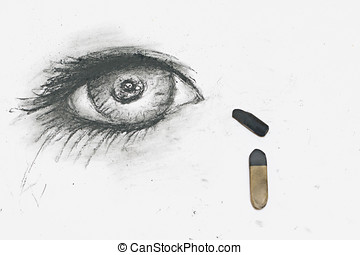 Human eye is drawn in charcoal on paper - The human eye is...