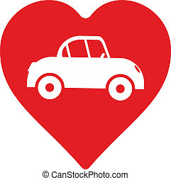 car - abstract car with heart as decorative element