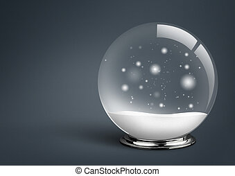 empty snow ball , on dark background with copy space, xmas concept
