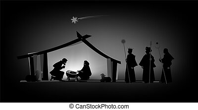 nativity play with silhouettes and baby jesus
