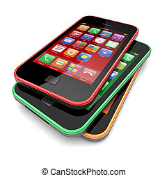 Smartphones with touchscreen and colorful apps . 3d image
