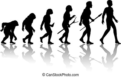 Man evolution. Silhouette progress growth development....