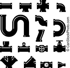 Pipe fittings vector icons set. Tube industry, construction...