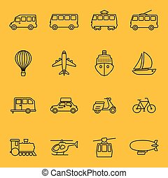 Vector thin line icons of transport. Car and taxi, train and...
