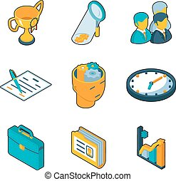Business icons. Isometric 3d vector signs of success and business activity