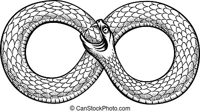 Snake curled in infinity ring Ouroboros devouring its own...