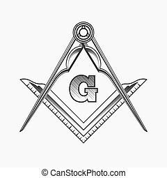 Freemasonry emblem logo with G great architect. Mystic...
