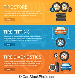 Vector banners set of tire service. Auto repair, car element...