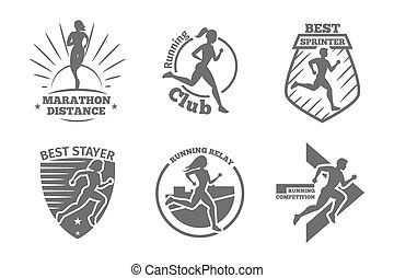 Vintage running club vector labels and emblems. Athletic...
