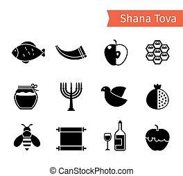 Rosh Hashanah Icons - Rosh Hashanah, Shana Tova or Jewish...