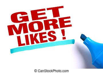 Get more likes text with blue underline and blue marker...