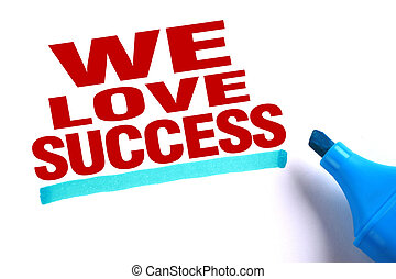 We love success text with blue underline and blue marker...