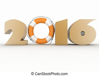 2016 year. Isolated 3D image