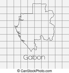Squared Background with the country shape of Gabon - A...