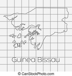Squared Background with the country shape of Guinea Bissau -...