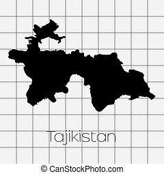 Squared Background with the country shape of Tajikistan - A...