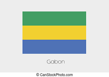 Illustration of the flag, with name, of the country of Gabon...