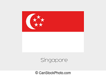 Illustration of the flag, with name, of the country of...