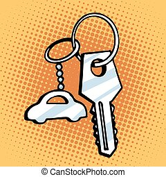 Keychain car keys. Retro style pop art