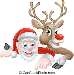 Santa and Reindeer Christmas Cartoon - Cartoon Santa and...