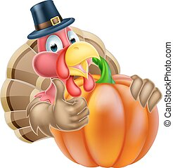Pilgrim Hat Thanksgiving Turkey and Pumpkin - Thanksgiving...