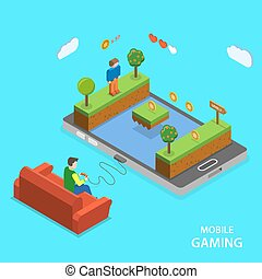 Mobile gaming flat isometric vector concept.