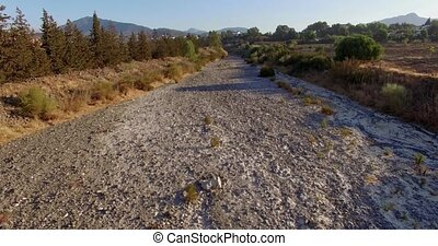 Aerial View, Flight Over Dry River, Andalucia Spain