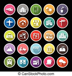 Real estate flat icons with long shadow, stock vector