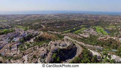 Aerial Beautiful Panorama of Village in Spain - Aerial...